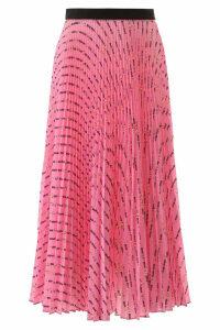 Miu Miu Pleated Midi Skirt With Miu Miu Flower Print