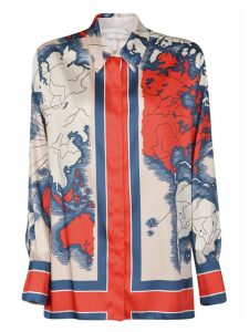 Victoria Beckham Printed Heavy Poly Twill Map Print Shirt