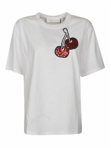 Victoria Beckham Cherry Embroidered Cotton T-shirt