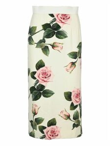 Dolce & gabbana Tropical Rose Print Mid Skirt