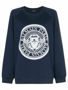 Balmain coin logo cotton sweatshirt - Blue