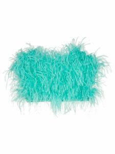 The Attico Ostrich Feather Cropped Bustier - Blue