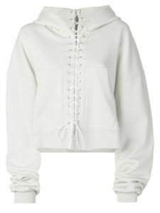 Unravel Project oversized lace-up hoodie - NEUTRALS