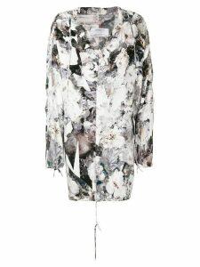 A.F.Vandevorst floral print hooded parka coat - White
