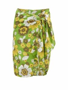 Dodo Bar Or - Mosa Tie-front Floral-print Cotton Skirt - Womens - Green Print