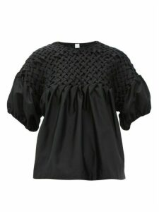 Merlette - Hellebore Smocked Cotton-blend Satin Top - Womens - Black