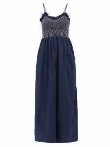Loretta Caponi - Bianca Shirred-bodice Embroidered Cotton Dress - Womens - Navy White
