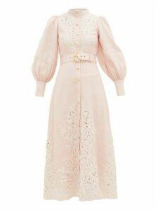 Zimmermann - Freja Broderie Anglaise-linen Shirtdress - Womens - Light Pink