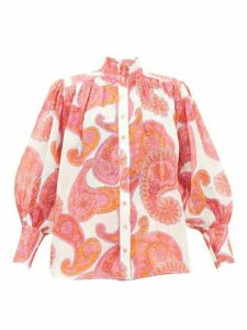 Zimmermann - Peggy Bishop-sleeve Paisley-print Ramie Blouse - Womens - Pink Print