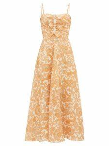 Zimmermann - Peggy Paisley-print Tie-front Linen Dress - Womens - Orange Print