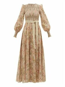 Zimmermann - Freja Paisley-print Smocked Cotton Dress - Womens - Beige Print