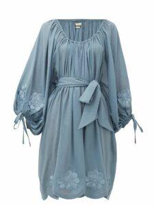 Innika Choo - Frida Burds Embroidered Cotton Mini Dress - Womens - Blue