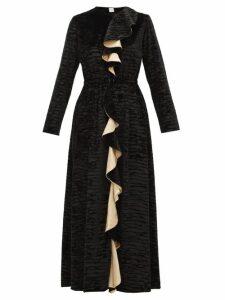 Loretta Caponi - Betty Ruffled Devoré-velvet Midi Dress - Womens - Black Gold