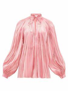 Rhode - Adele Plissé Lamé-satin Blouse - Womens - Pink