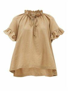 Loup Charmant - Marina Ruffle-sleeve Cotton Top - Womens - Brown