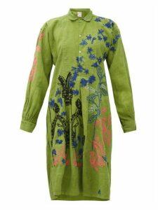 Kilometre Paris - Villa Ephrussi Embroidered-cotton Shirtdress - Womens - Green Print