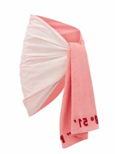 Kilometre Paris - Embroidered Gradient Cotton-khadi Sarong - Womens - Pink White