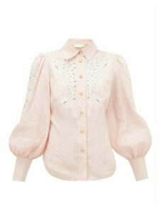 Zimmermann - Freja Broderie-anglaise Linen Blouse - Womens - Light Pink