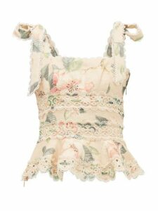 Zimmermann - Kirra Floral-print Linen Crop Top - Womens - Yellow Print