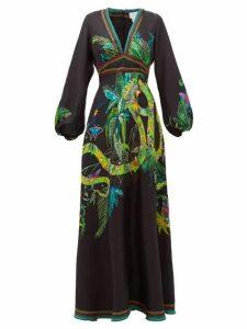 Camilla - River Cruise Silk-satin Maxi Dress - Womens - Black Print