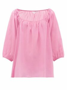 Rhode - Stella Square-neck Cotton-muslin Top - Womens - Pink