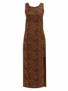Lisa Marie Fernandez - Charlotte Zebra-print Cotton Midi Dress - Womens - Brown Print