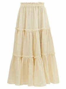 Lisa Marie Fernandez - Gathered Linen Midi Skirt - Womens - Beige
