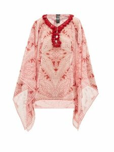 Etro - Pompom-trim Floral-print Georgette Top - Womens - Pink Print