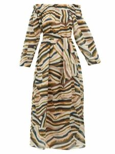 On The Island By Marios Schwab - Los Bajos Abstract-print Cotton Dress - Womens - Pink Multi