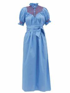 Loretta Caponi - Elena Belted Smocked Cotton-poplin Midi Dress - Womens - Blue