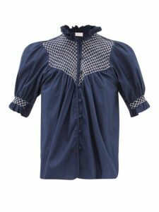 Loretta Caponi - Milvia Smocked Cotton Blouse - Womens - Navy White