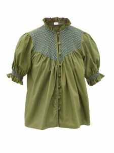 Loretta Caponi - Milvia High-neck Smocked Cotton Blouse - Womens - Khaki Multi