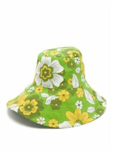Dodo Bar Or - Daria Floral-print Poplin Bucket Hat - Womens - Green Print