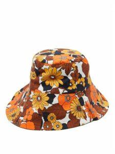 Dodo Bar Or - Daria Floral-print Cotton-poplin Bucket Hat - Womens - Brown Print