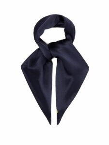 Hillier Bartley - Logo-embroidered Silk-satin Hair Tie - Womens - Navy