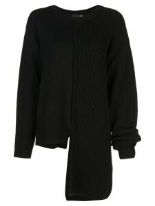 Y's ribbed panelled asymmetric jumper - Black