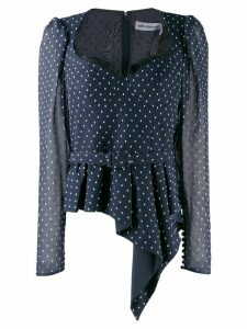 Self-Portrait flare polka-dot blouse - Blue