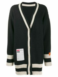 Heron Preston contrast trim V-neck cardigan - Black