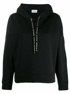 Moncler logo drawstrings hoodie - Black