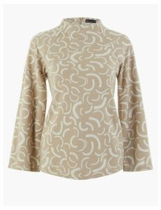 M&S Collection Printed High Neck Sweatshirt