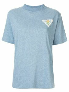 Tu es mon TRÉSOR embroidered rose patch T-shirt - Blue
