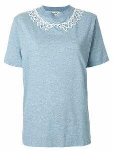 Tu es mon TRÉSOR embellished short-sleeve T-Shirt - Blue
