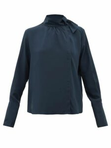 Fendi - Tie-neck Silk Crepe De Chine Blouse - Womens - Navy