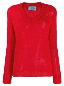 Prada open knit v-neck jumper - Red