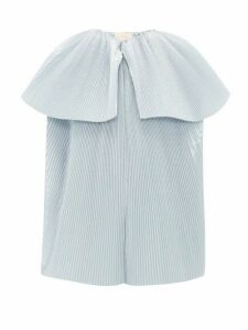Roksanda - Leo Plissé Twill Blouse - Womens - Light Blue