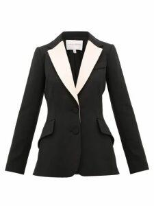 Carolina Herrera - Contrast-lapel Single-breasted Wool-blend Jacket - Womens - Black Multi