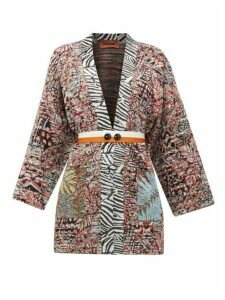 Missoni - Belted Jacquard-knit Cardigan - Womens - White Multi
