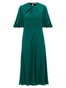 Emilia Wickstead - Magnolia Puff-sleeve Georgette Midi Dress - Womens - Dark Green
