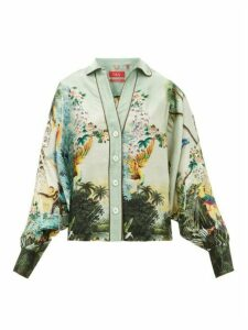 F.r.s - For Restless Sleepers - Anaideia Floral-print Hammered-silk Blouse - Womens - Light Blue