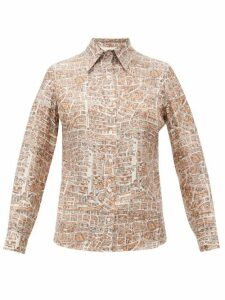 La Prestic Ouiston - Joana Carte De Paris-print Silk Shirt - Womens - Beige Multi